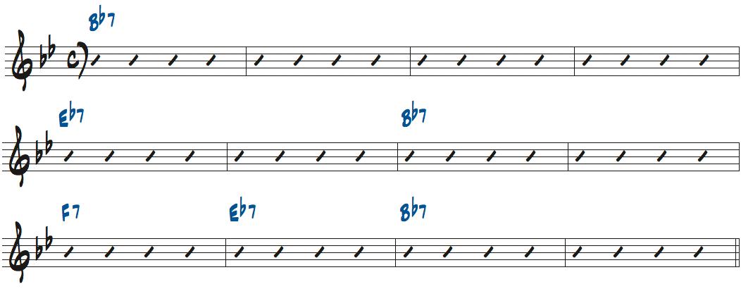 ブルースの基本コード進行楽譜