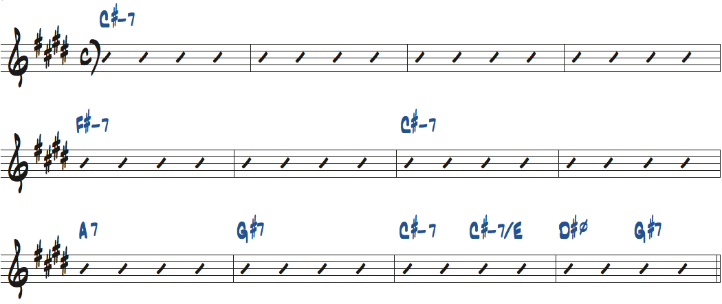 Bags & Trane(ミルト・ジャクソン作曲)のコード進行楽譜