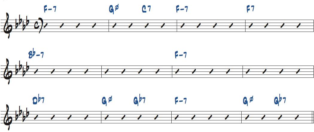 Blue Lights(ジジ・グライス作曲)のコード進行楽譜