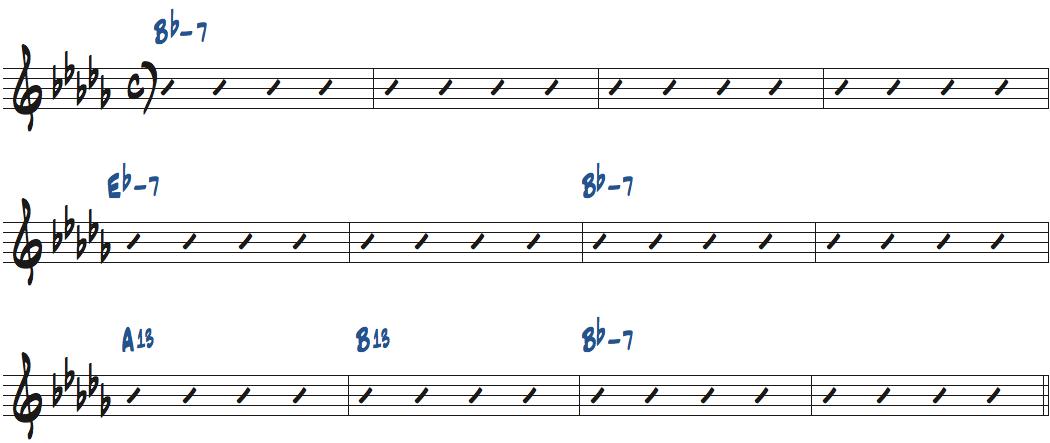 The Jody Grind(ホレス・シルヴァー作曲)のコード進行楽譜