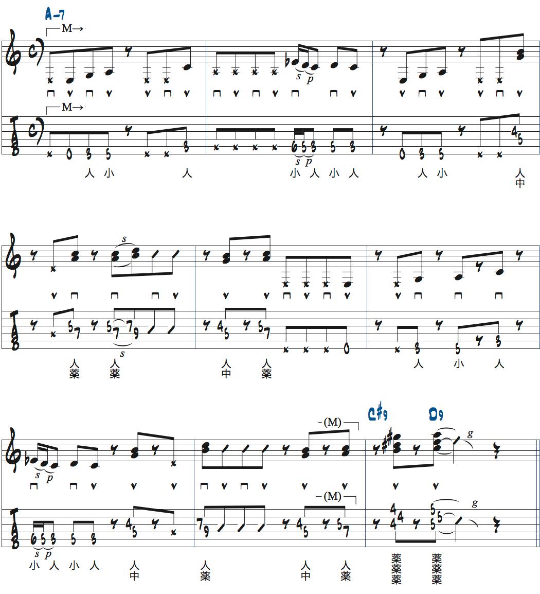 ポールジャクソンジュニアのAm7でのリズムギター楽譜