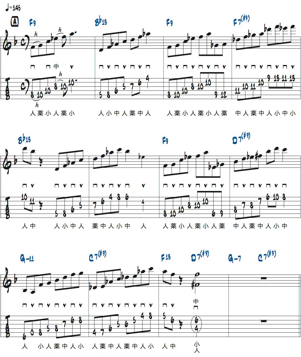 ティム・ミラーのハイブリッド・ピッキングを使ったブルースでのアドリブ1コラース目楽譜