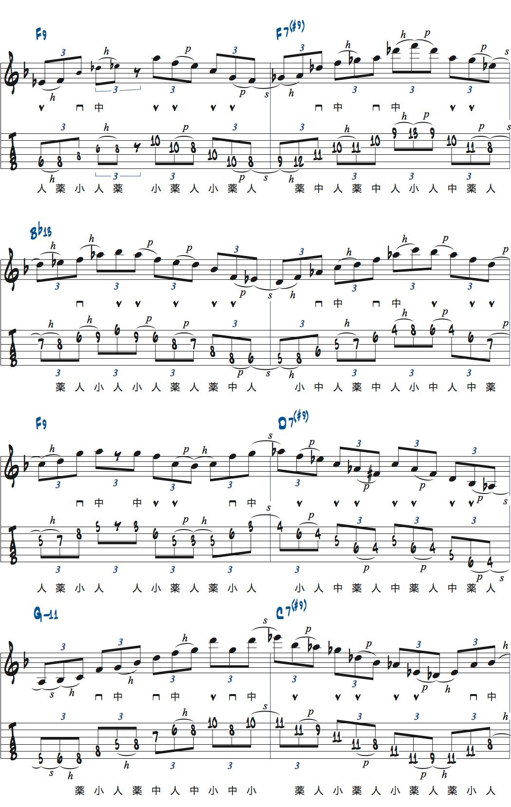 ティム・ミラーのハイブリッド・ピッキングを使ったブルースでのアドリブ2コラース目2ページ目楽譜