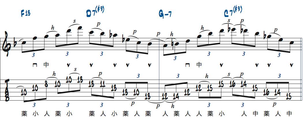 ティム・ミラーのハイブリッド・ピッキングを使ったブルースでのアドリブ2コラース目3ページ目楽譜