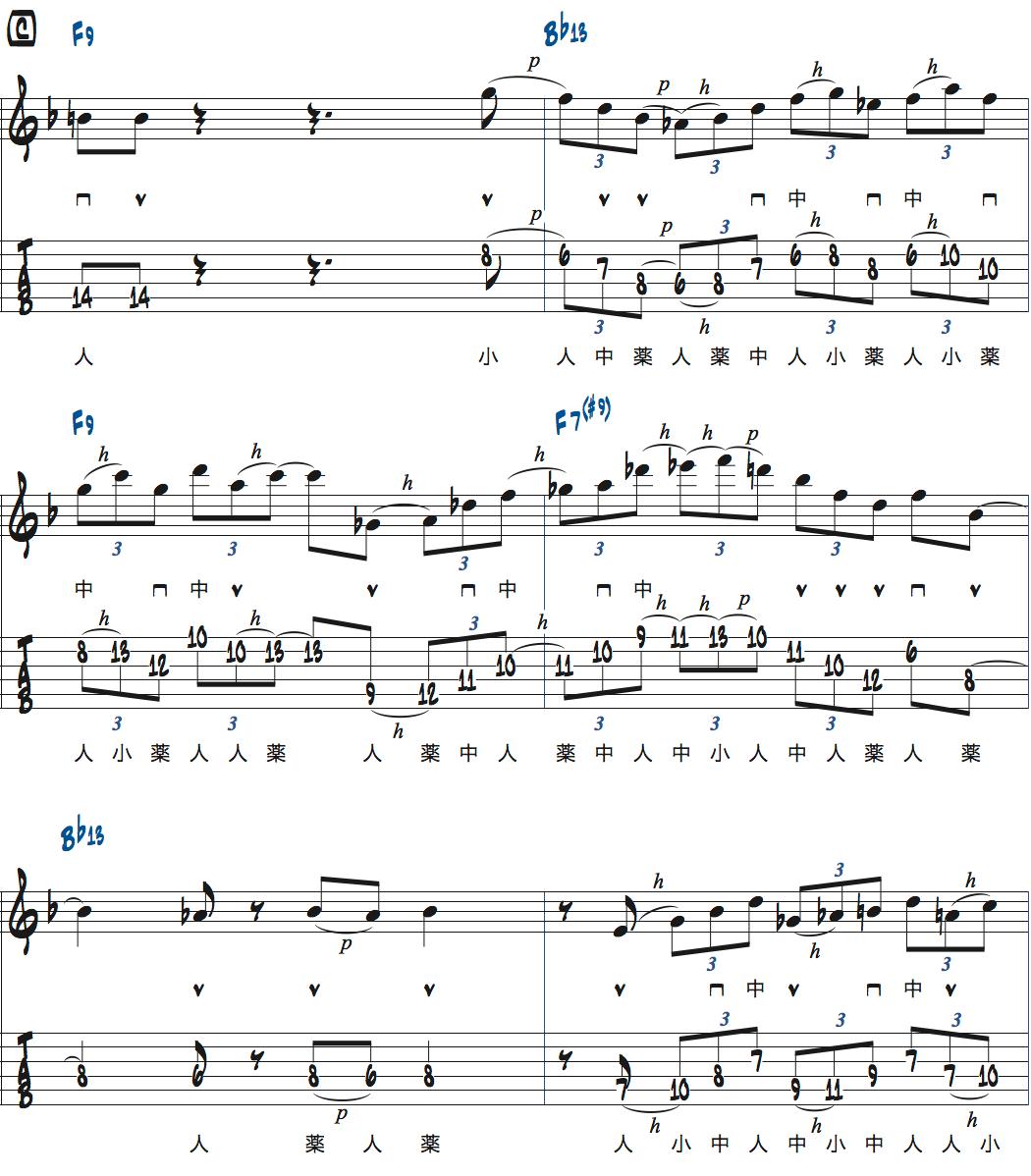 ティム・ミラーのハイブリッド・ピッキングを使ったブルースでのアドリブ3コラース目1ページ目楽譜
