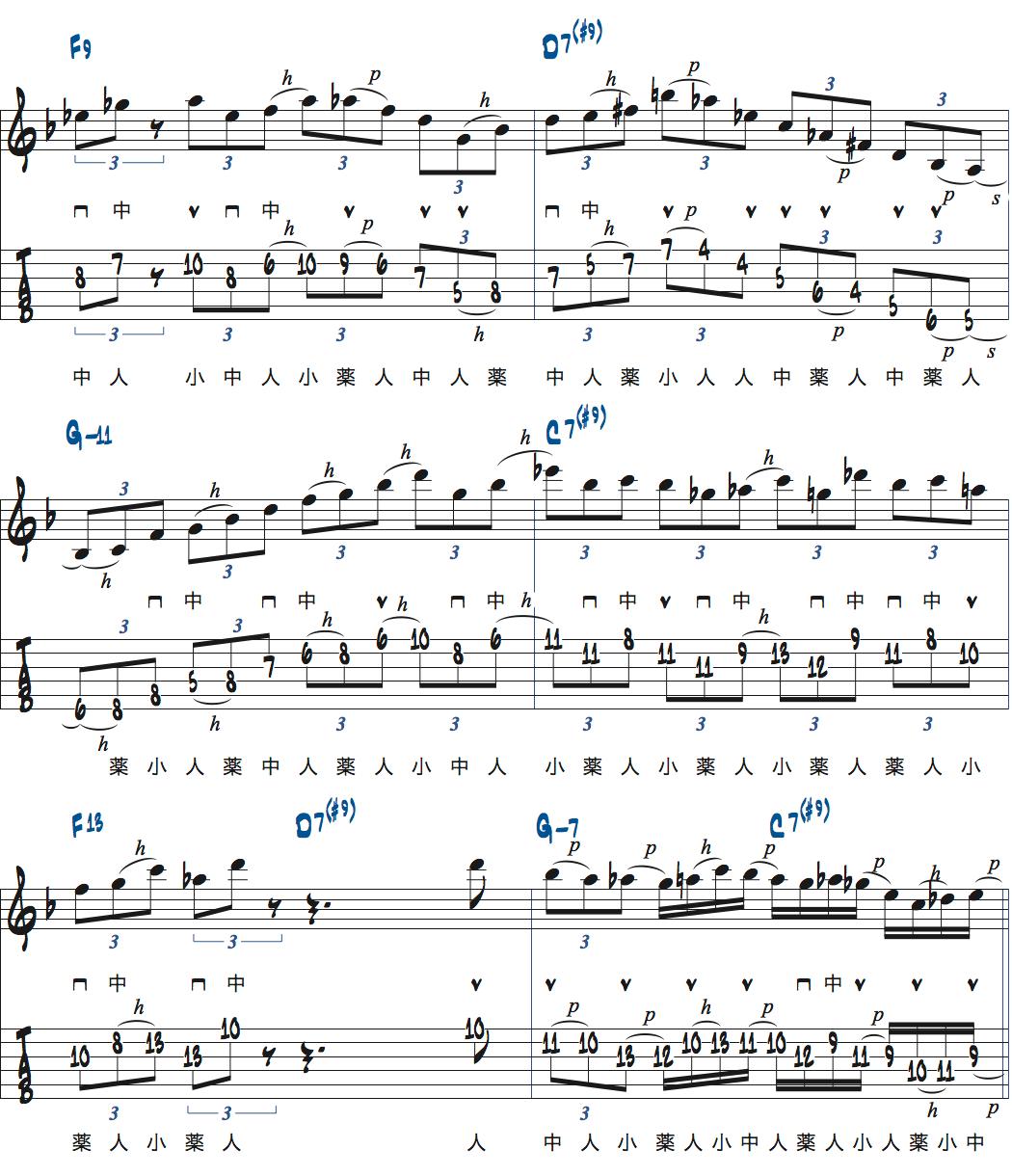 ティム・ミラーのハイブリッド・ピッキングを使ったブルースでのアドリブ3コラース目2ページ目楽譜