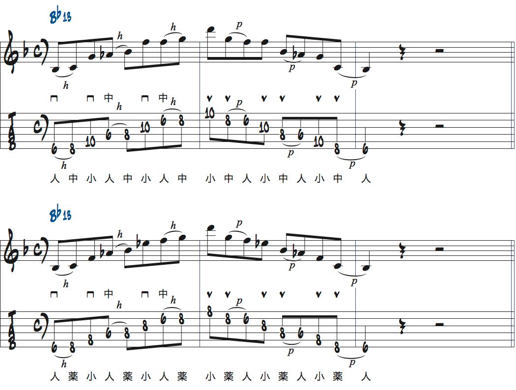 ティム・ミラーのハイブリッド・ピッキングを使ったBb13でのフレーズアイデア1楽譜