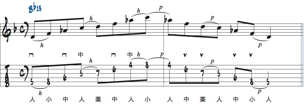 ティム・ミラーのハイブリッド・ピッキングを使ったBb13でのフレーズアイデア2楽譜