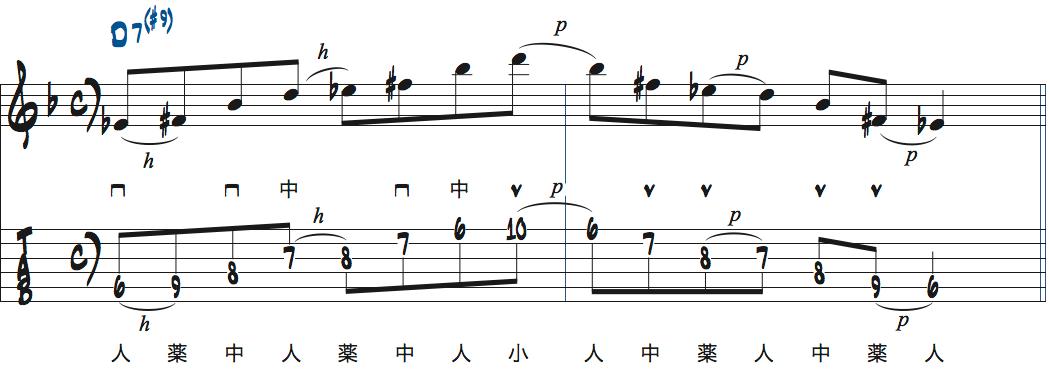 ティム・ミラーのハイブリッド・ピッキングを使ったD7(#9)でのフレーズアイデア楽譜