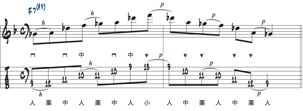 ティム・ミラーのハイブリッド・ピッキングを使ったF7(#9)でのフレーズアイデア楽譜