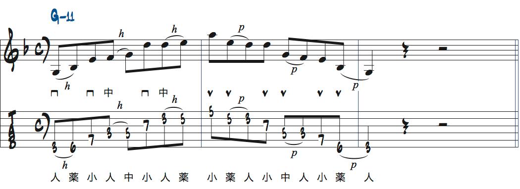 ティム・ミラーのハイブリッド・ピッキングを使ったGm11でのフレーズアイデア2楽譜
