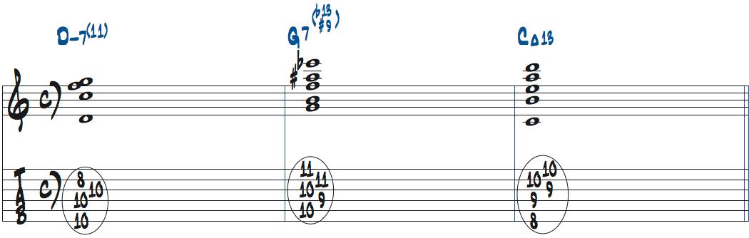 1〜6弦を使ったコンピング例楽譜