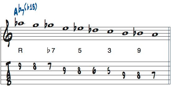 Ab7(b13)の10音ビバップスケール楽譜