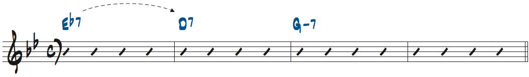 Eb7にした楽譜