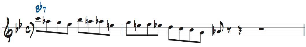 Bb7で使えるリック五線譜