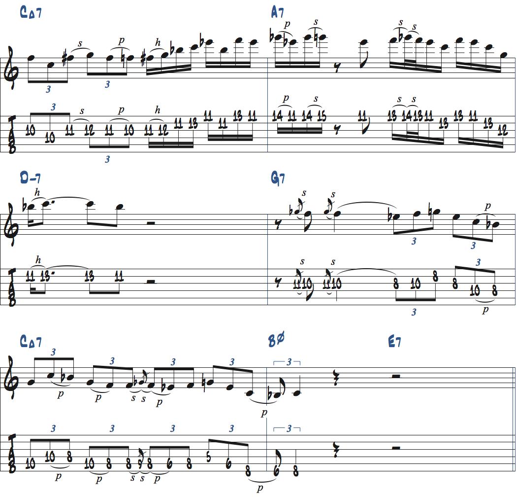 Cブルーススケールを使ったアドリブ例1ページ2楽譜