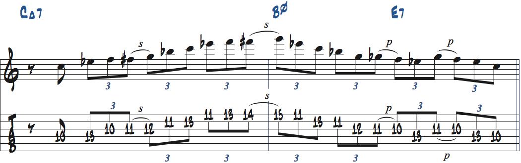 Cブルーススケールを使ったアドリブ例2ページ2楽譜