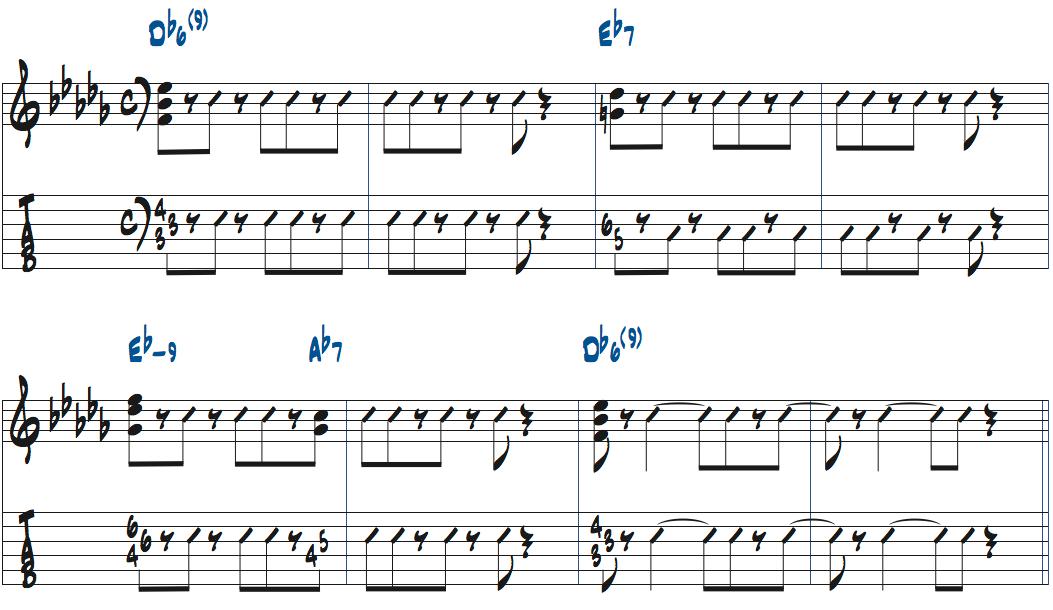 イパネマの娘のコード進行を使ったコンピング例ベース無しタブ譜付き楽譜