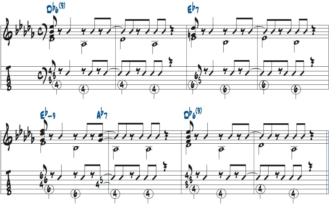 イパネマの娘のコード進行を使ったコンピング例ベースありタブ譜付き楽譜