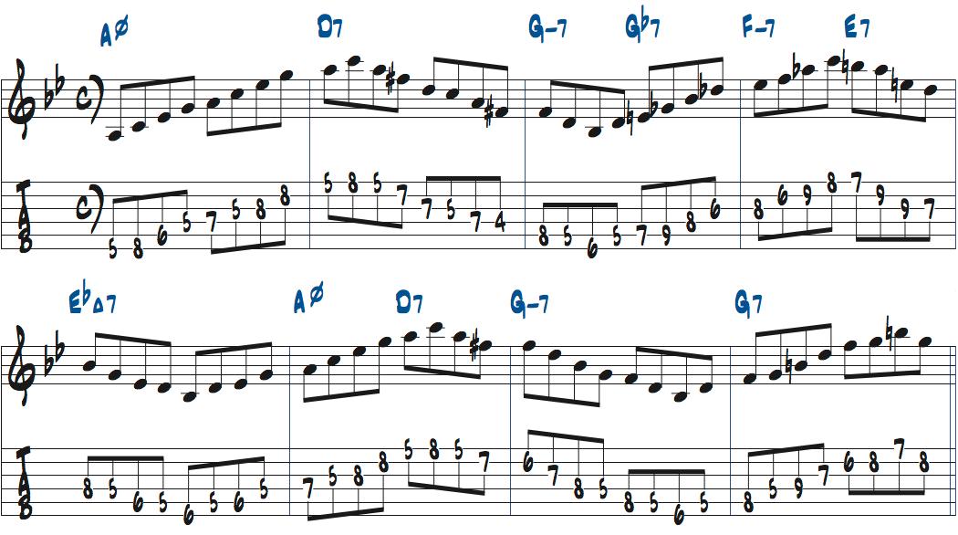 コード進行に合わせてコードトーンを8分で弾く練習楽譜