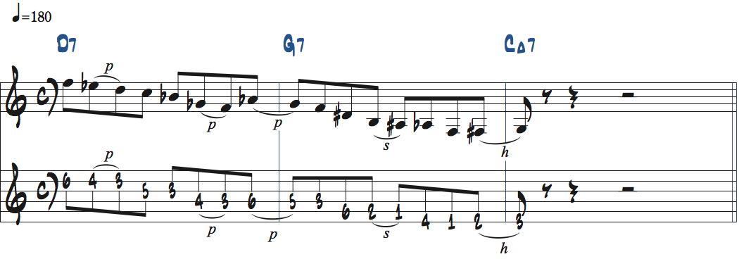 G7のルートに解決するDオルタードリックをD7-G7-CMaj7で使った楽譜