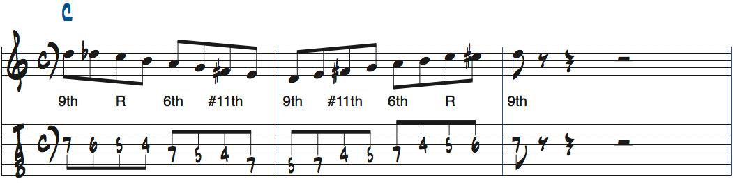 1-6-2-5でのアドリブ例1楽譜