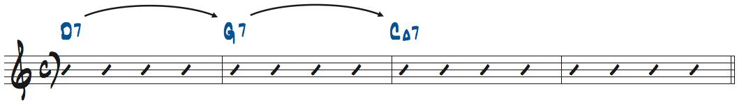 D7-G7-CMa7のコード進行楽譜