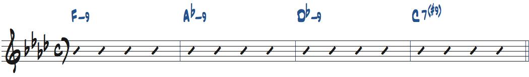 Fm9-Abm9-Dbm9-C7(#9)コード進行楽譜