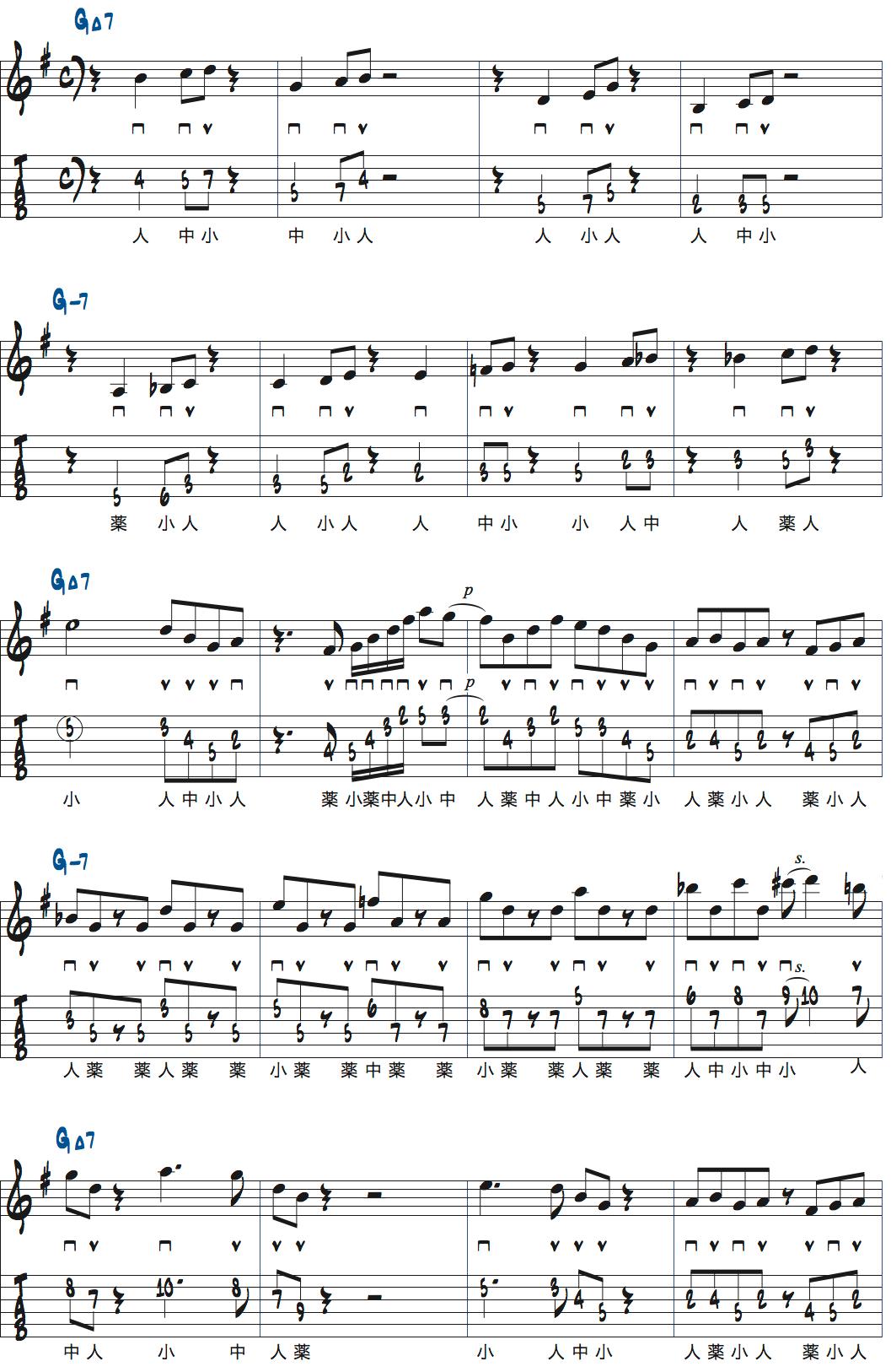 GMa7、Gm7各4小節のアドリブ例楽譜ページ1