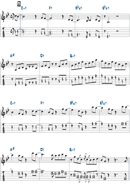 Gマイナーペンタトニックスケールでアドリブした例楽譜ページ1