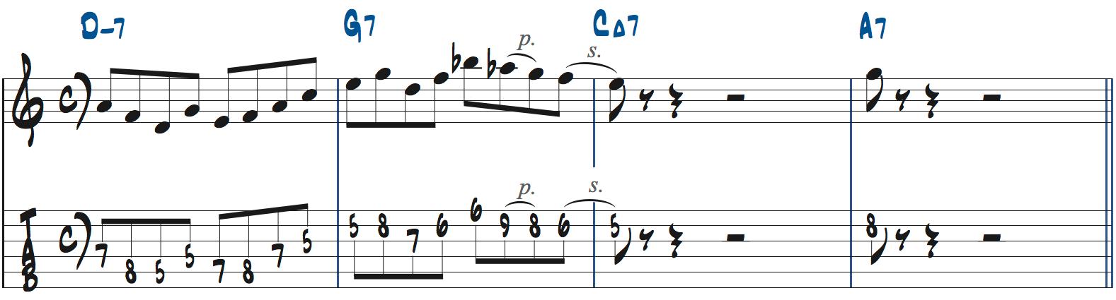 251リックを使った後のフレーズの作り方1楽譜