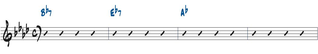 Bb7-Eb7-Abのコード進行楽譜