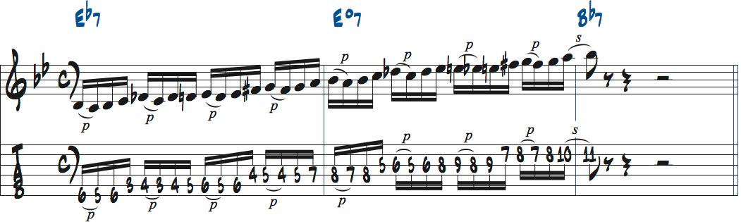 ディミニッシュスケールのパターンを使ったアドリブ例楽譜
