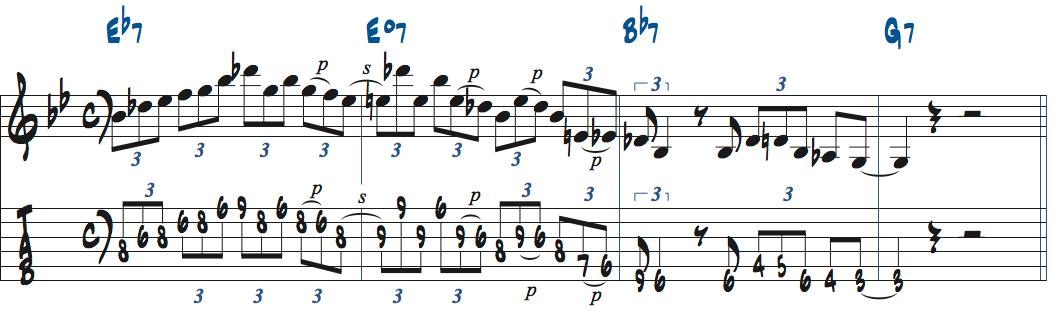 ペンタトニックスケール+b5を使ったアドリブ例1楽譜