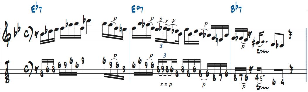 ペンタトニックスケール+b5を使ったアドリブ例2楽譜