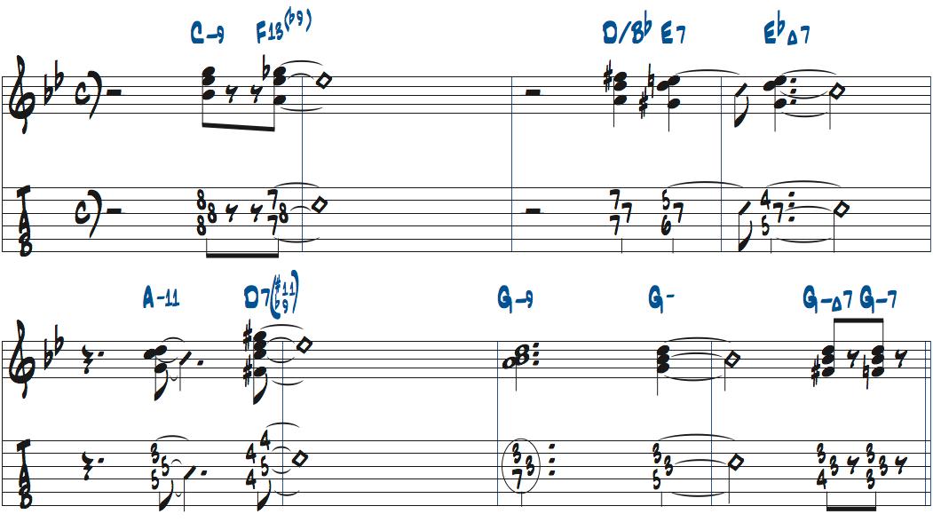 枯葉のコード進行でのキースジャレットのコンピング例楽譜