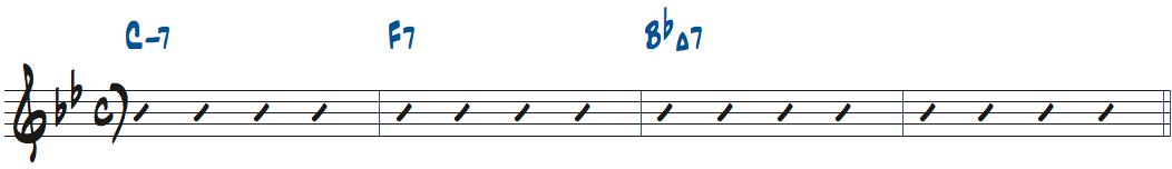 Cm7-F7-BbMaj7コード進行楽譜