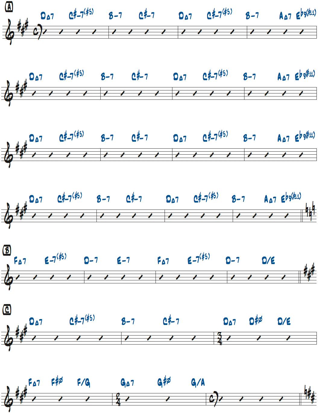 ラリーカールトンRoom335コード進行楽譜ページ1
