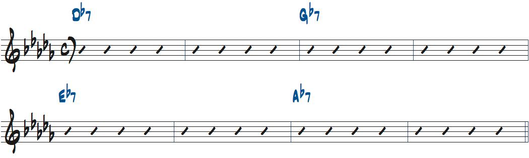 キーDbのStuffyBセクションのコード進行楽譜