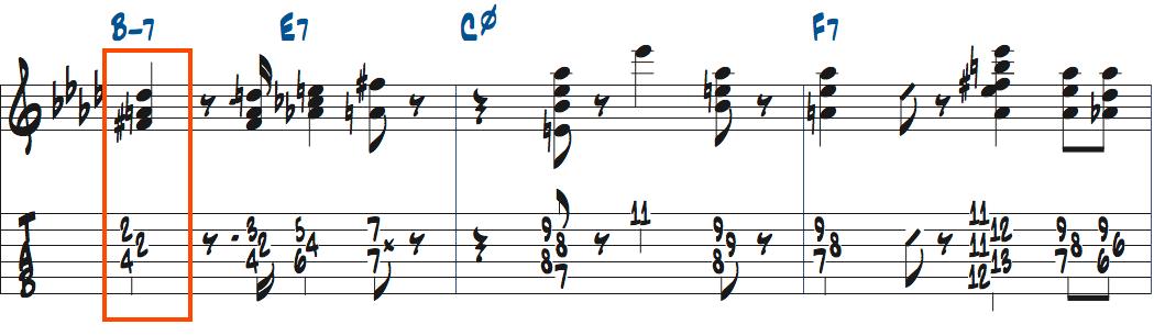 Bm7で使うF#mトライアド楽譜