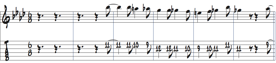 8分の6拍子での記譜