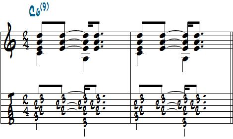 4分の2拍子で記譜した楽譜