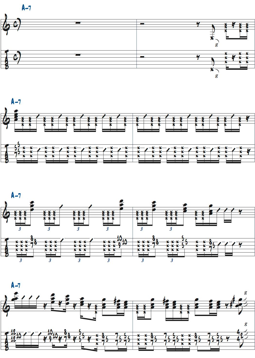 ポールジャクソンジュニアの空間を気にせずに弾いたバッキング楽譜ページ1