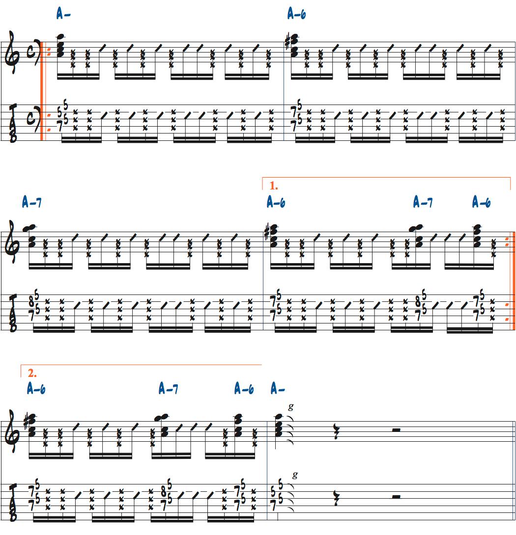 ポールジャクソンジュニアが弾く左手のミュートカッティングデモ演奏楽譜