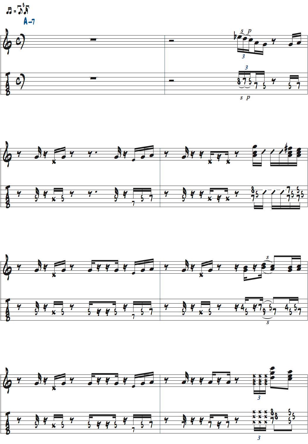 ポールジャクソンジュニアが弾くAm7でのコードトーンバッキングデモ演奏ページ1楽譜