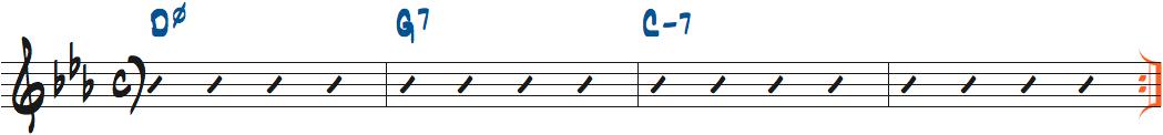 Dm7(b5)-G7-Cm7ループ楽譜