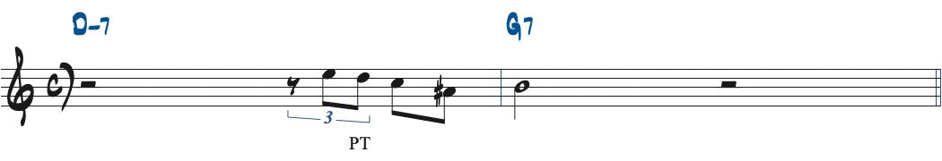 60ページのG7のターゲットノートへパッシングトーンを加えた楽譜