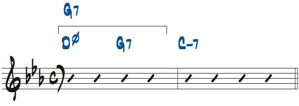 Dm7(b5)-G7をG7と捉えた楽譜