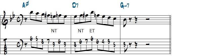 V7を先取!クロマチックアプローチを使ったマイナーII-V-Iリックの分析2楽譜