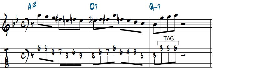 3音のタグノートを使ったリックのアレンジ楽譜